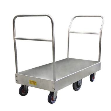 6 Wheel Wide Stock Platform Trolley (Twin Handles)