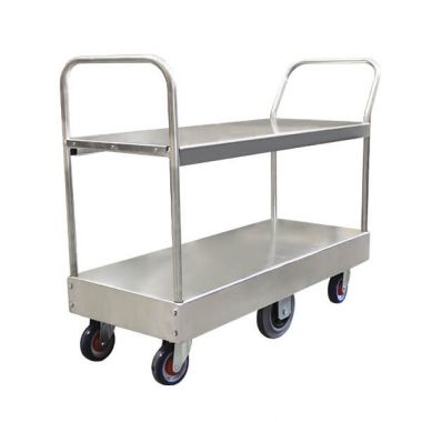 6 Wheel Narrow Stock Twin Platform Trolley (Twin Handles)