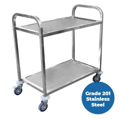 2 Tier (950 x 500mm) Grade 201 SS Service Trolley