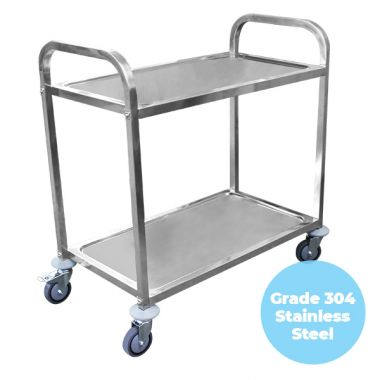2 Tier (750 x 400mm) Grade 304 SS Service Trolley