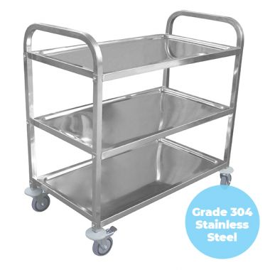 3 Tier (950 x 500mm) Grade 304 SS Service Trolley