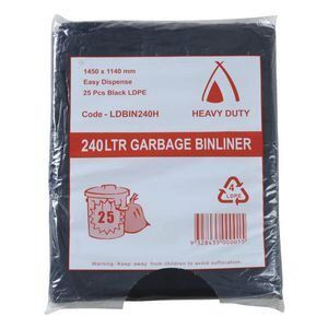 240L Heavy Duty LDPE Bin Liner (Black)