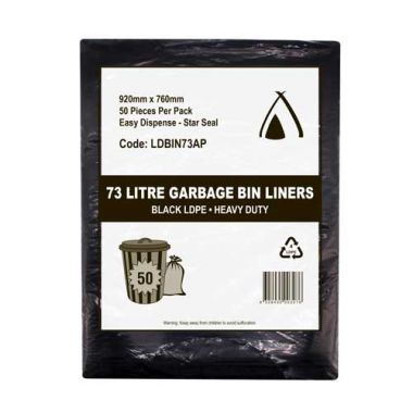 73L Heavy Duty LDPE Star Seal Bin Liner (Black)